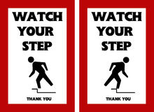 Watch Your Step Warning Sign Hole Danger Risk Mitigation Stock.