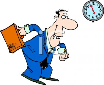 Watched the clock at work clipart.