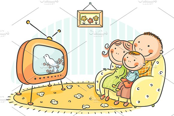 watched tv with daddy clipart #8