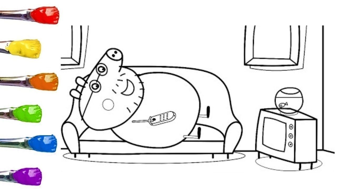 Peppa Pig Daddy Pig Watching TV Coloring Book For Kids with.