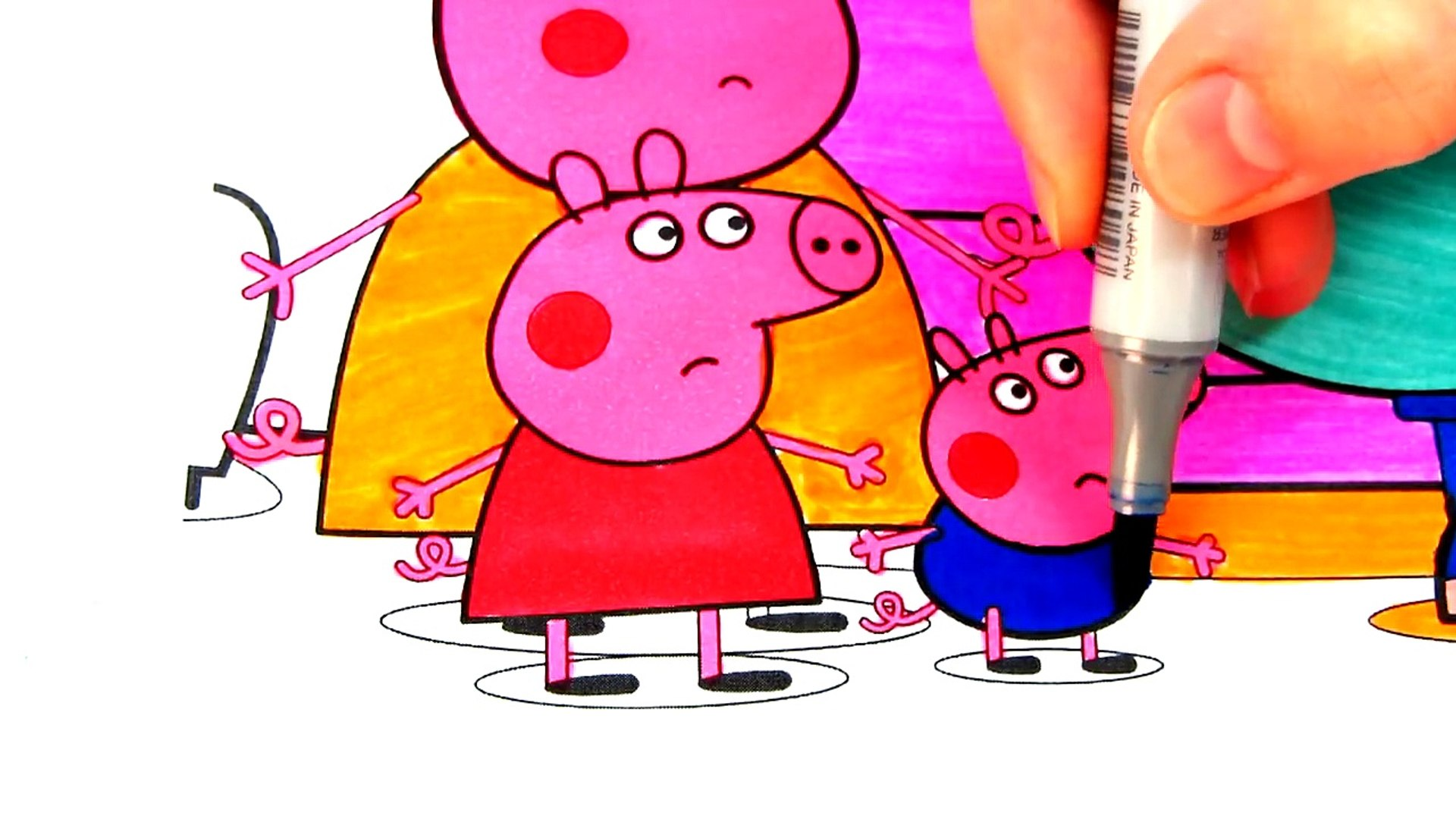 Peppa Pig Daddy Pig Watching TV Coloring Book Pages Videos For Kids with  Colored Markers.