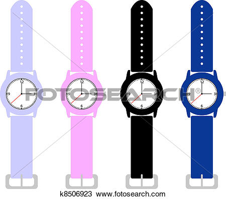 Clipart of Set of Kids Wrist Watches k8506923.