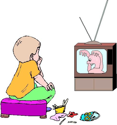 Boy watching tv clipart.