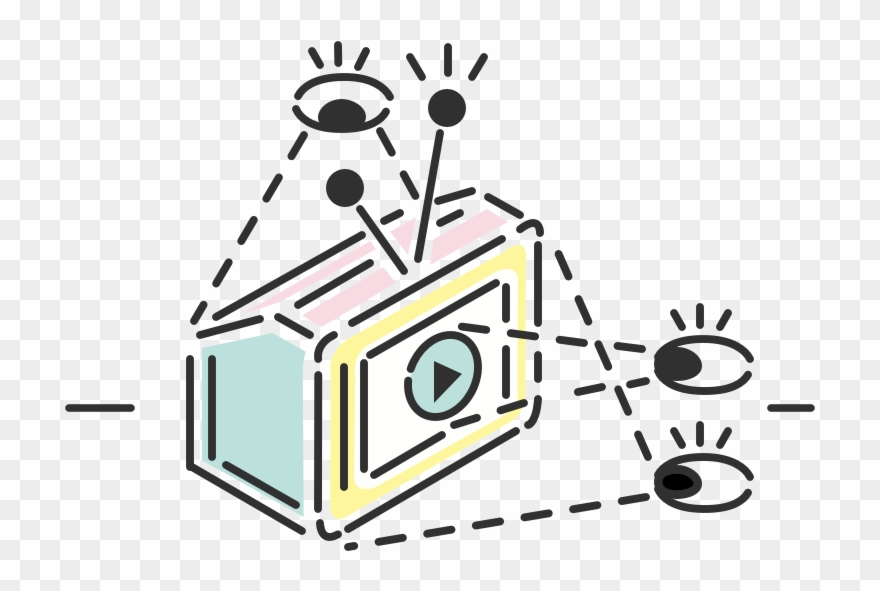 Feature Illustration Of Eyes Watching A Play Button Clipart.