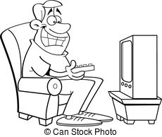 Watching tv clipart black and white 1 » Clipart Station.