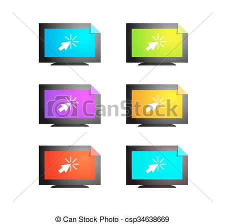 Online TV logo. Watching videos on the Internet. Vlog vector set icons.  Online Media content vector objects..