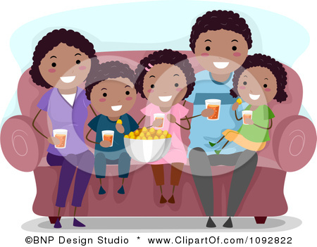 Clipart HappyFamily Watching A Movie At Home And Eating Snacks.