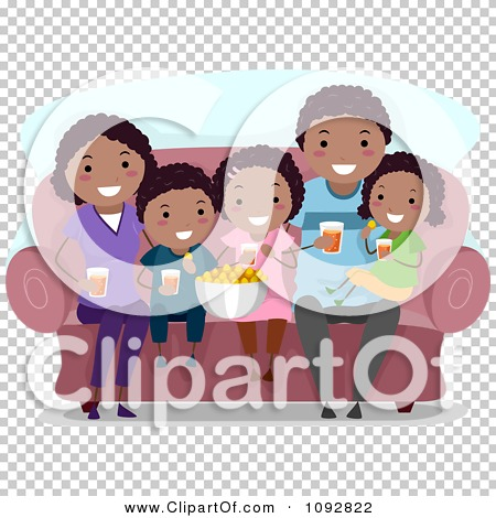 Clipart Happy Black Family Watching A Movie At Home And Eating.
