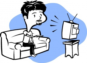 Watching Movie At Home Clipart.
