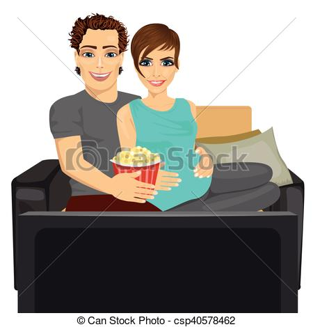 Clip Art Vector of young happy couple watching movie at home.