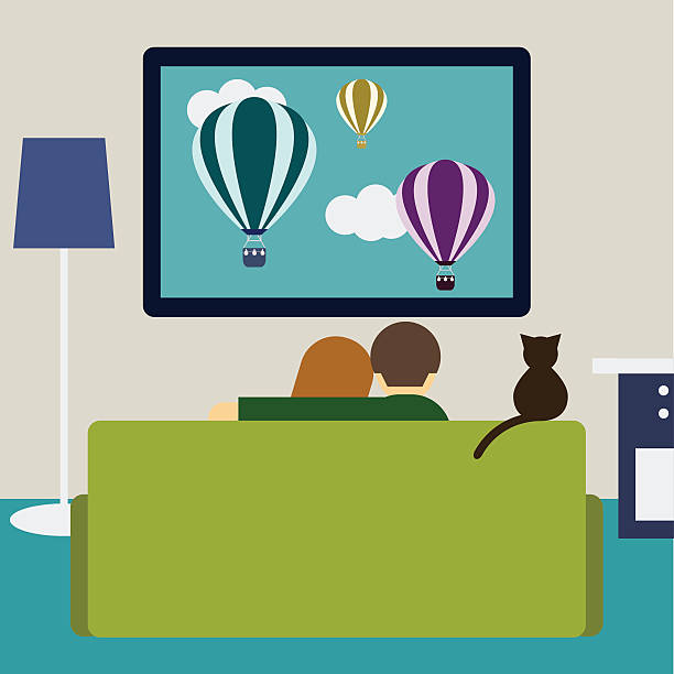 Watching Movie At Home Clip Art, Vector Images & Illustrations.