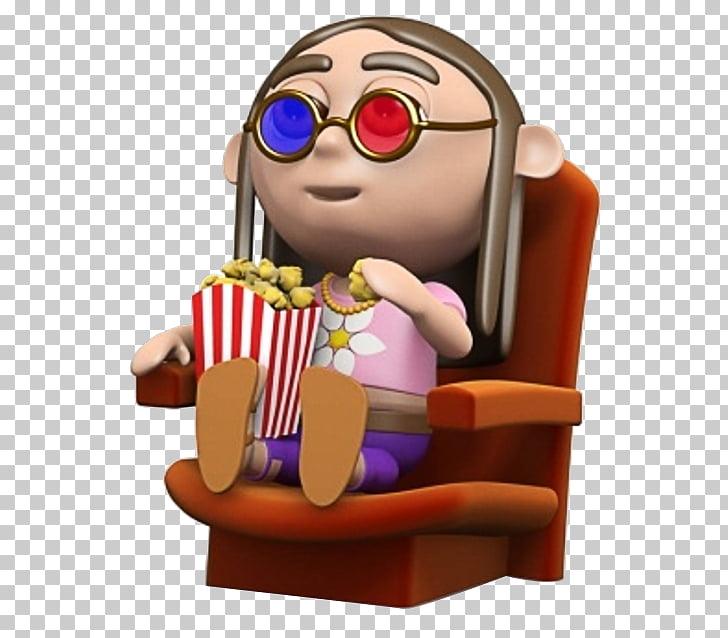 Popcorn Cinema, 3D cartoon watching movie people , girl.