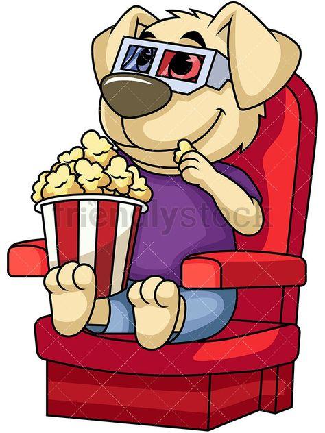 Dog Mascot Character Watching Movie: Royalty.