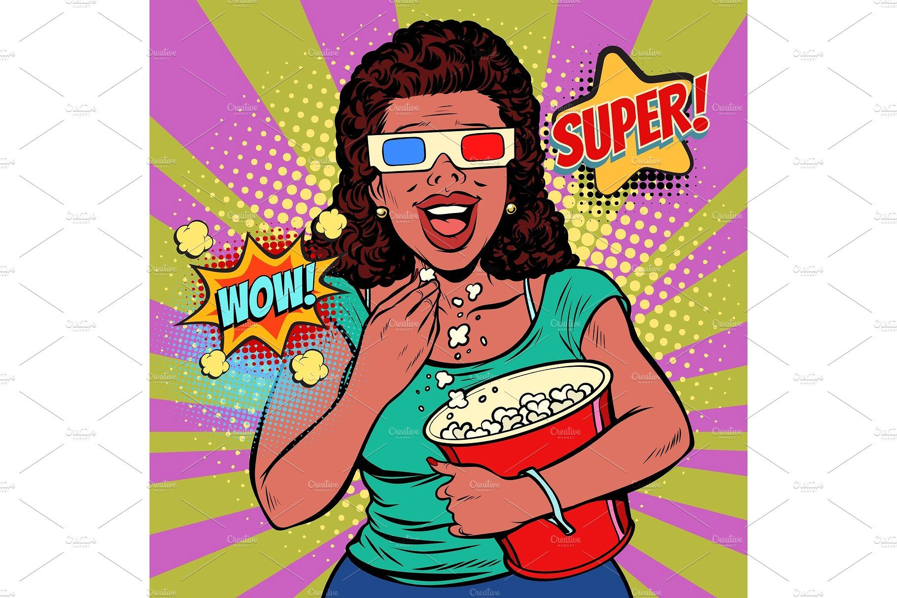 woman in 3D glasses watching a movie, smiling and eating.