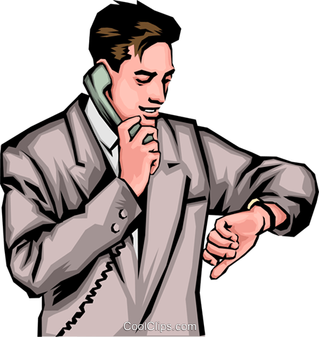 Man with phone & watch Royalty Free Vector Clip Art.