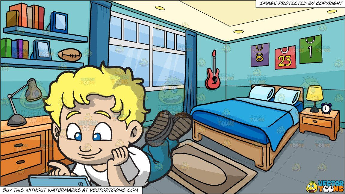 clipart #cartoon A Boy Watching A Video On His Mobile Tablet.