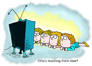 Kids Watching Television Clipart.