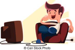 Clipart Boy Watching Tv.