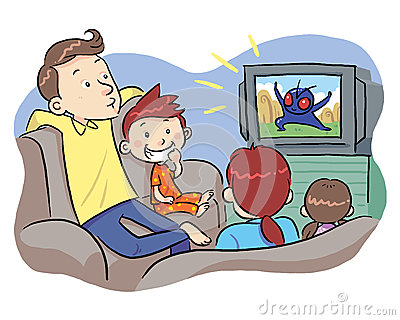 Baby Watching Tv Clipart.