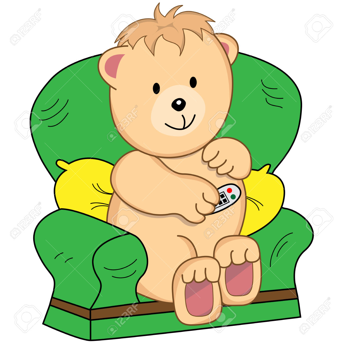 Bear Sitting In An Armchair Holding A TV Remote Control.