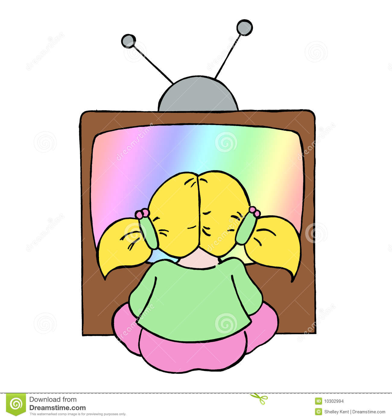 A Girl Watching Tv Clipart.