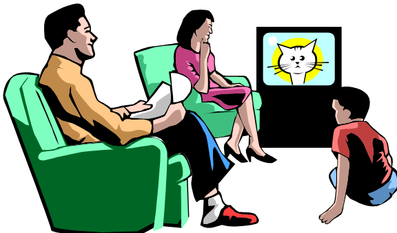 Clipart of family watching tv.