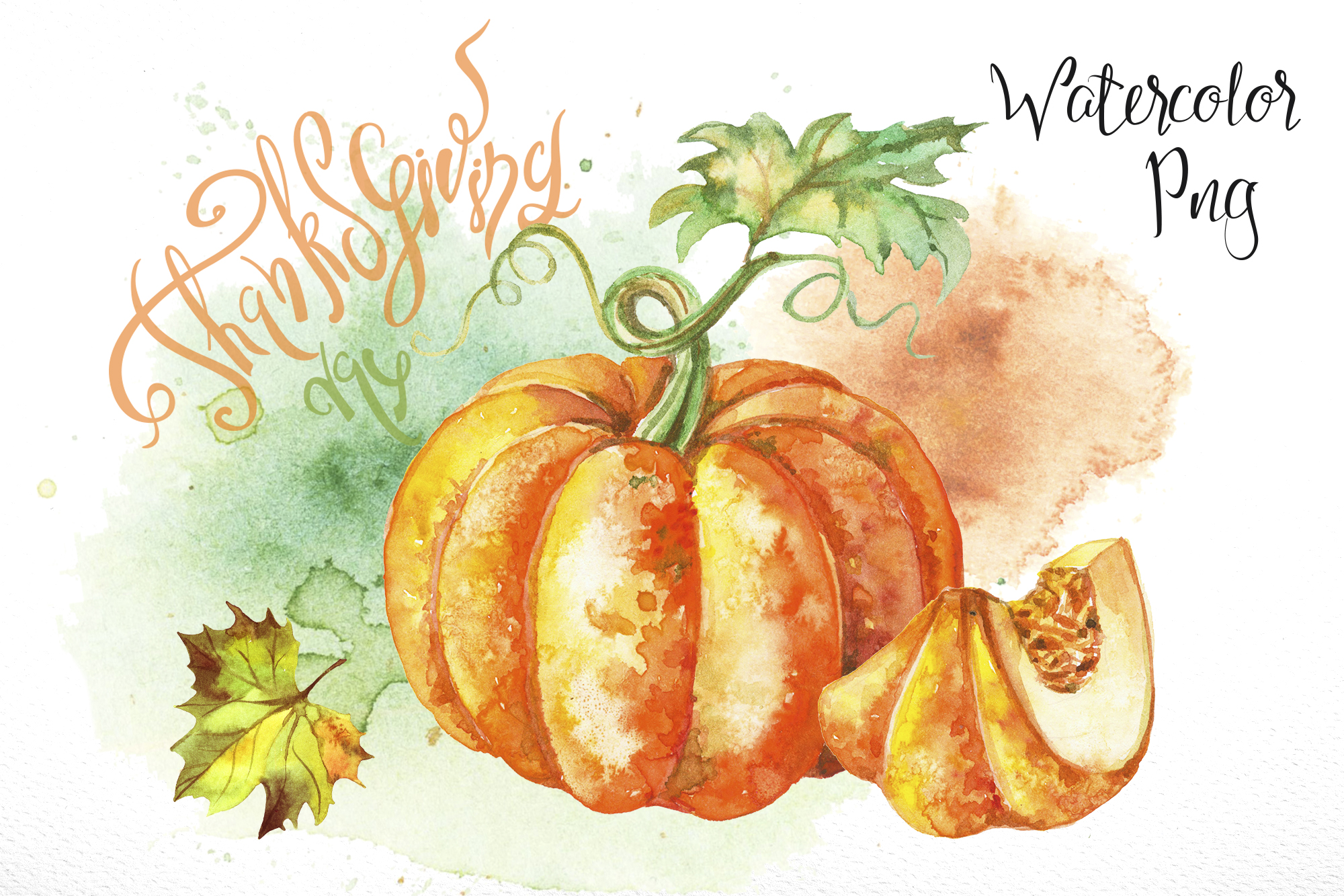 Thanksgiving day. Set of watercolor clipart..