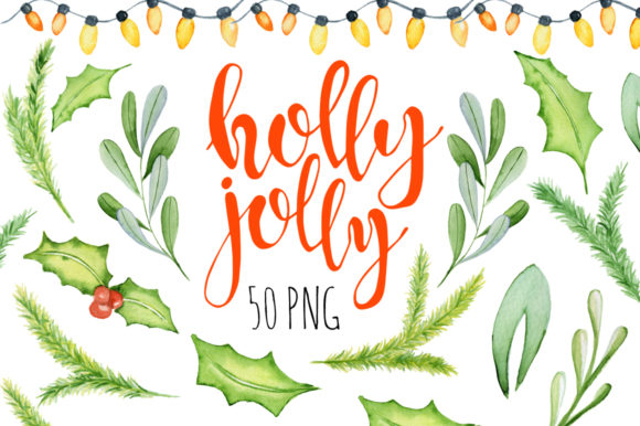 Christmas Floral Watercolor Clipart.