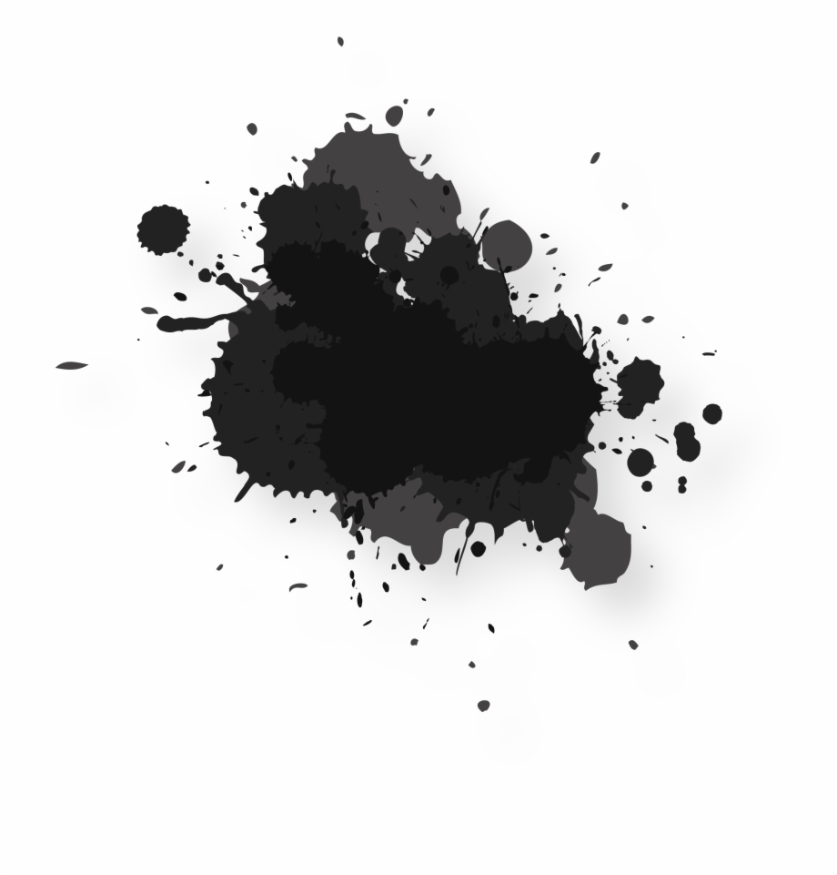 Watercolor Painting Ink Abstract Splash Black Water Color.