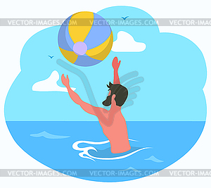 Male Playing Ball in Sea, Water Activity.