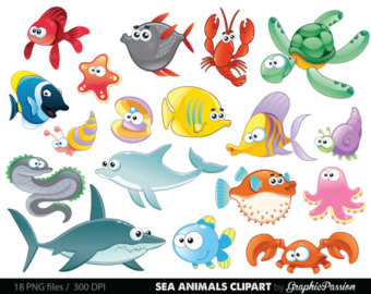 Fish Clipart Sea Animal Clipart Sea Animal Clip by VipARTVector.