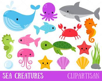 Sea Animals Clip Art, Ocean Creatures.