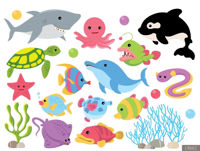 Sea Animals Digital Clipart and Papers.
