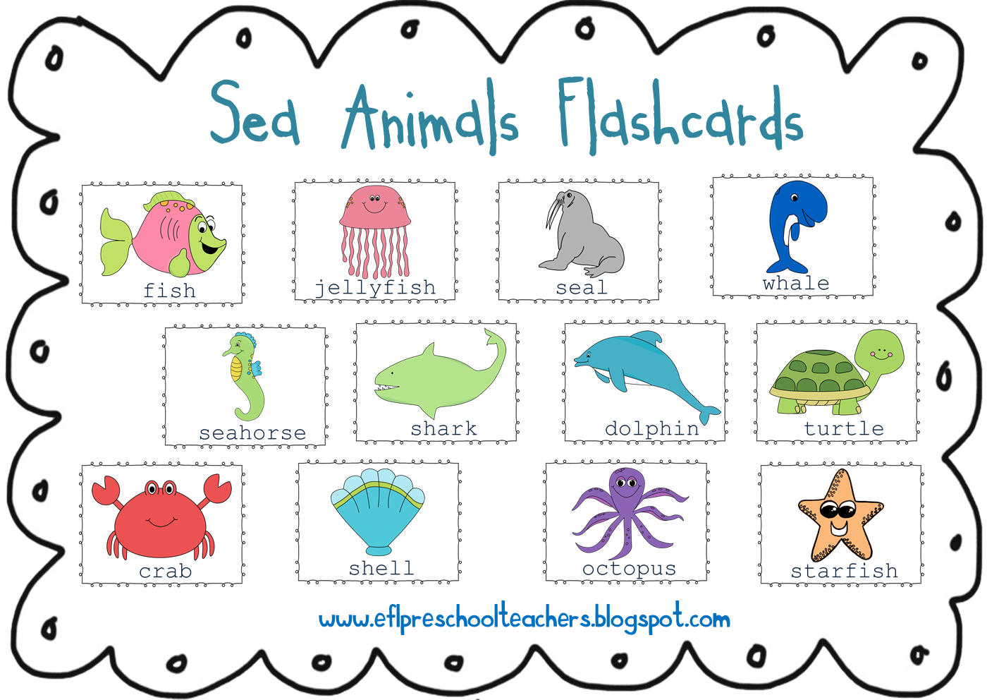 ESL/EFL Preschool Teachers: Sea Animals.
