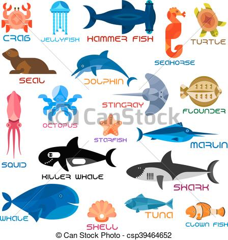 Clipart Vector of Oceanarium ocean animals and fishes with names.
