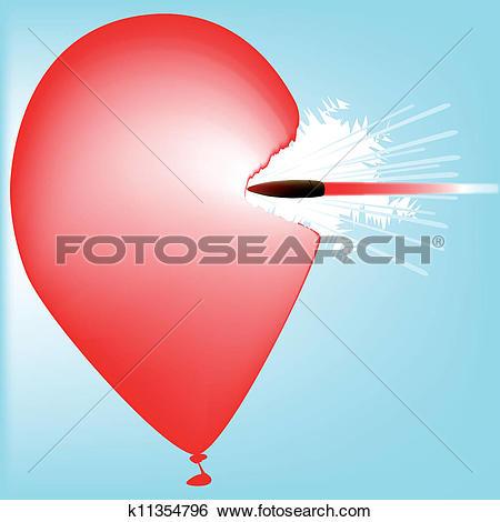 Clip Art of Bullet Hitting a Balloon k11354796.