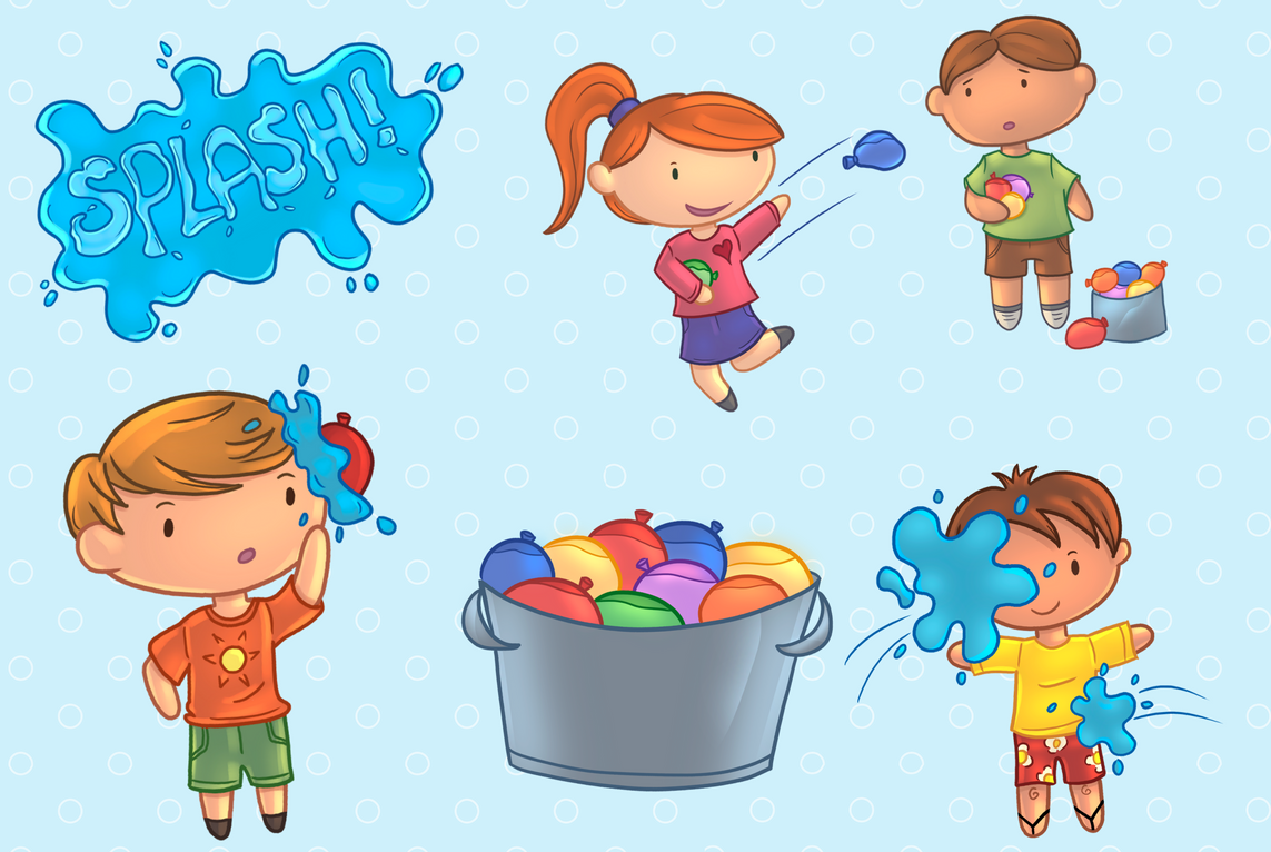 Water Balloon Fight Clip Art Collection.