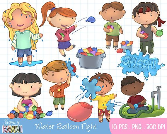 Clipart, Digital Download, Instant Download, Water Balloons.