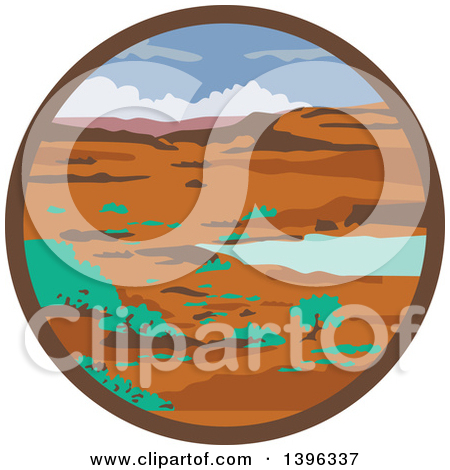 Clipart of a WPA Styled Columbian Basin Desert Water Basin.