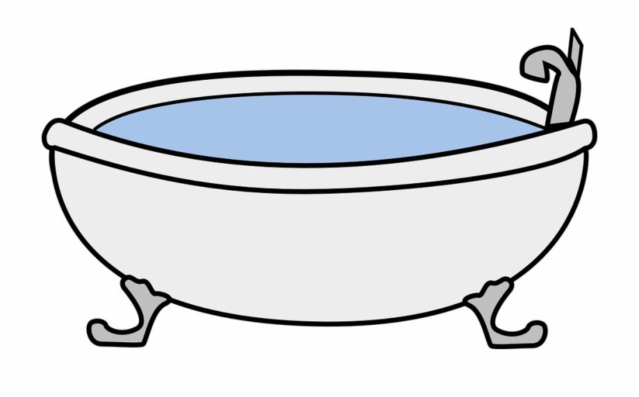 Bathtub Vintage Cartoon Isolated Clawfoot Water.