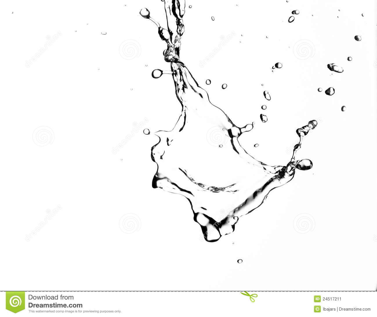 Water Splash Clip Art Black and White.