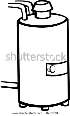 Man Working On Hot Water Boiler Clipart.