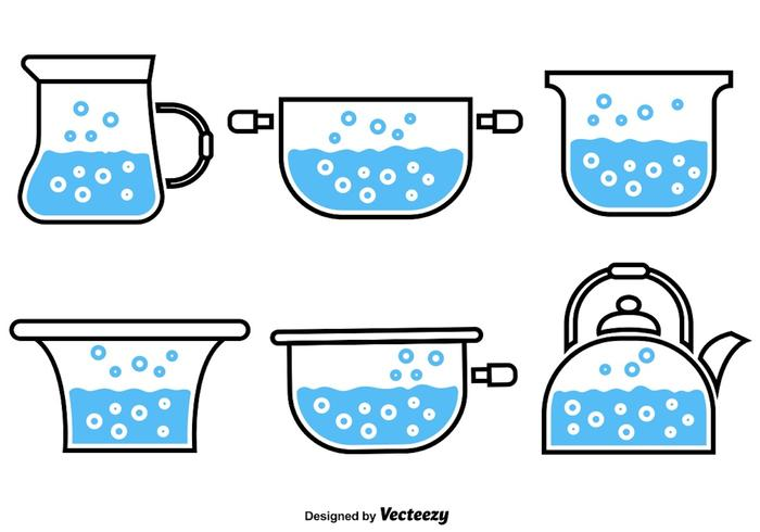 Boiling Water Vector Icons.