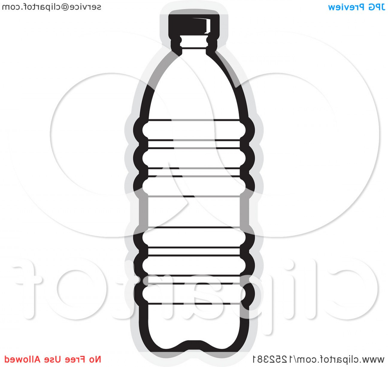 Hd Water Bottle Black And White Vector Graphic.