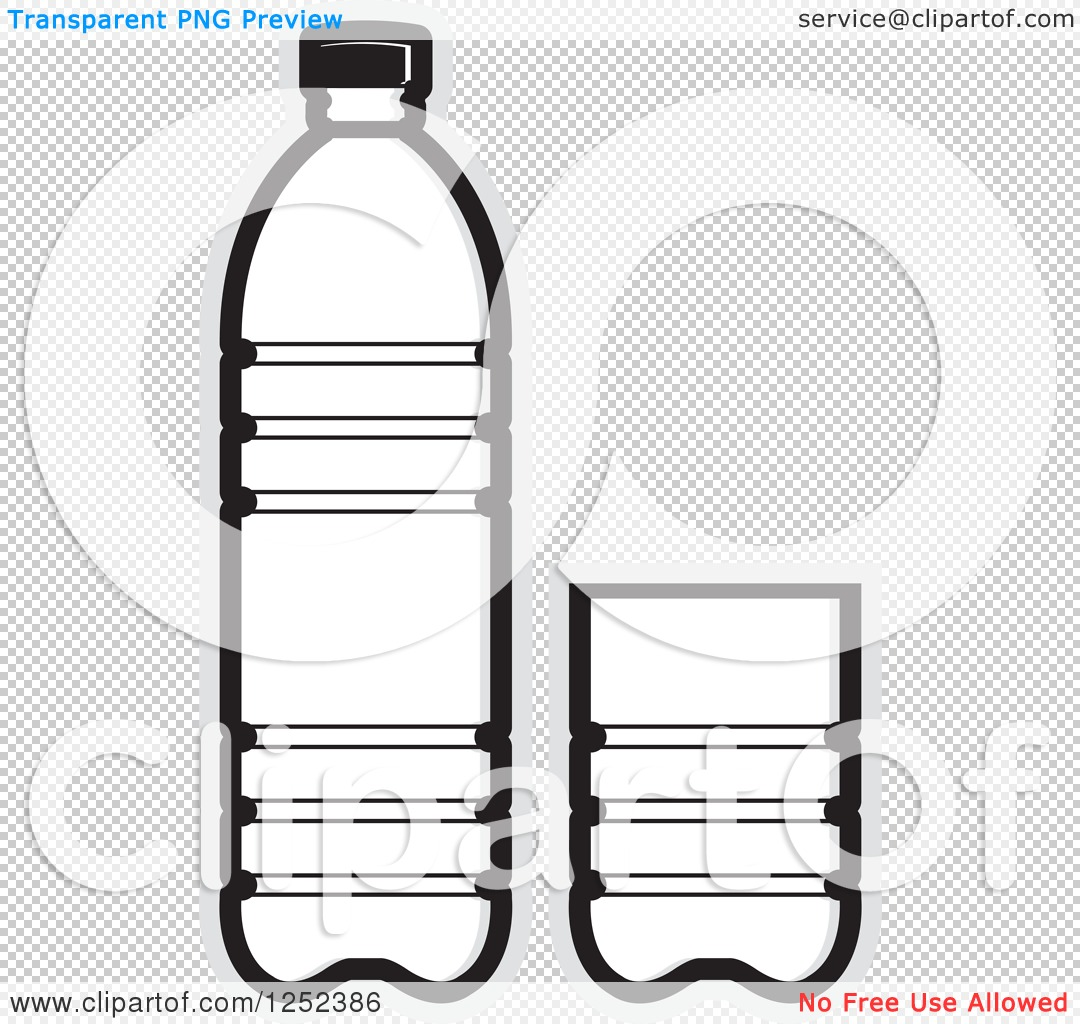 Clipart of a Black and White Water Bottle and Cup and Gray Outline.
