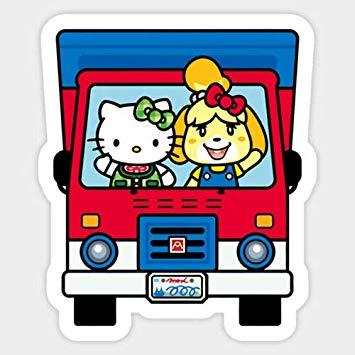 Amazon.com: Vinyl Sticker Animal Crossing Hello Kitty and.