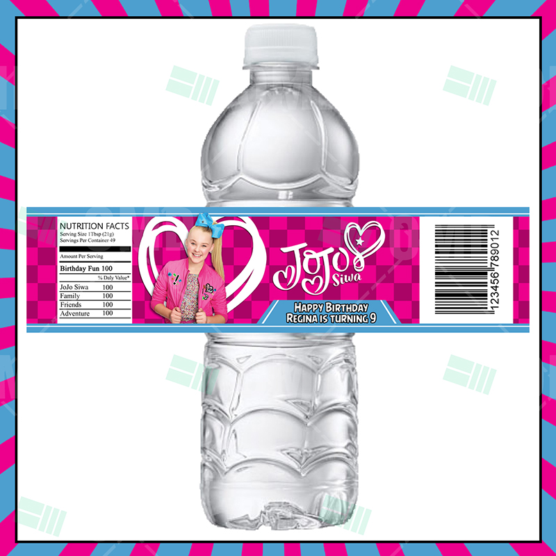 JoJo Siwa Cartoon Party Bottle Labels.