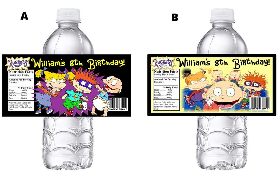 Details about RUGRATS RUGRATS PERSONALIZED BIRTHDAY PARTY FAVORS WATER  BOTTLE LABELS WRAPPERS.