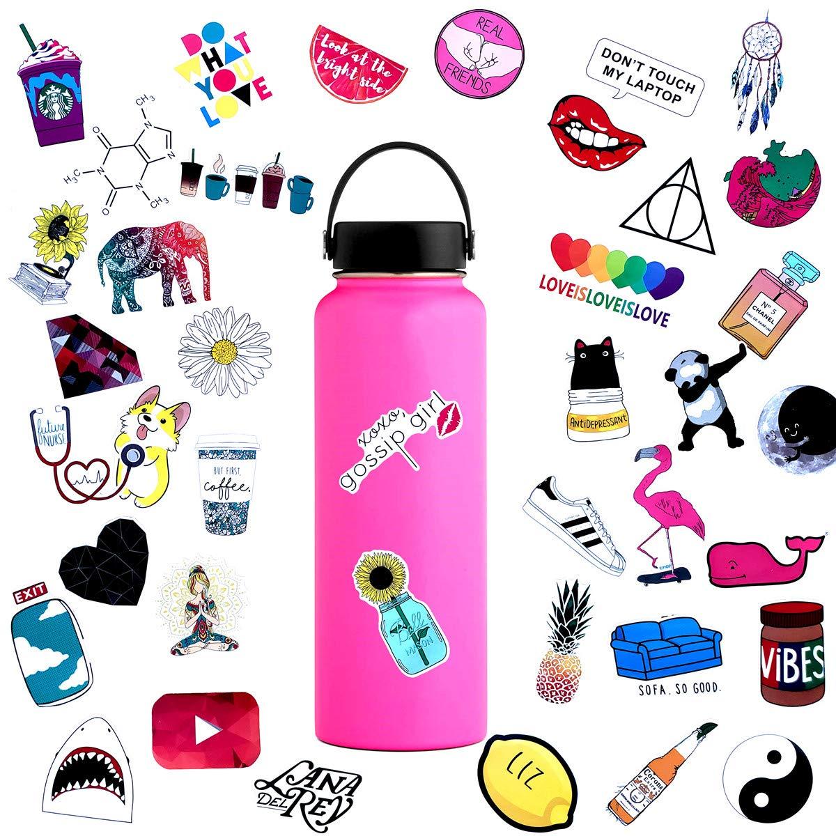 45pcs Water Bottle Sticker Decals Waterproof,Cute Bumper and Laptop  Stickers for Girls,Computer,Car,Skateboard, Luggage,Snowboard[Not Random].