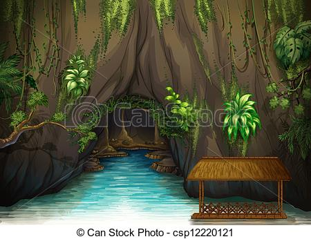 Clipart Vector of A cave and a water.